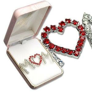 """3/$20"" mom white ruby red austrian crystal brooch"